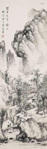溥佺(1913~1991) 溪山访友 立轴 水墨纸本