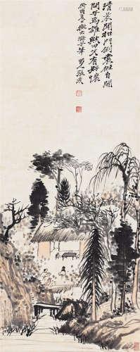 张大千(1899~1983) 1933年作 拟石涛山水 立轴 设色纸本