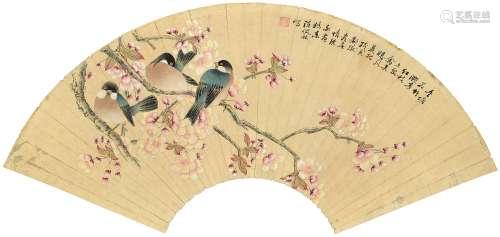 陈佩秋 花鸟 扇镜片