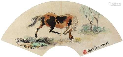 徐悲鸿 骏马 扇镜片