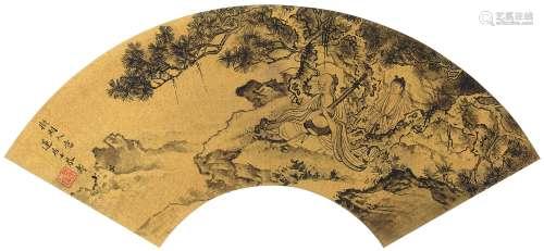 潘恭寿 人物山水 扇镜片