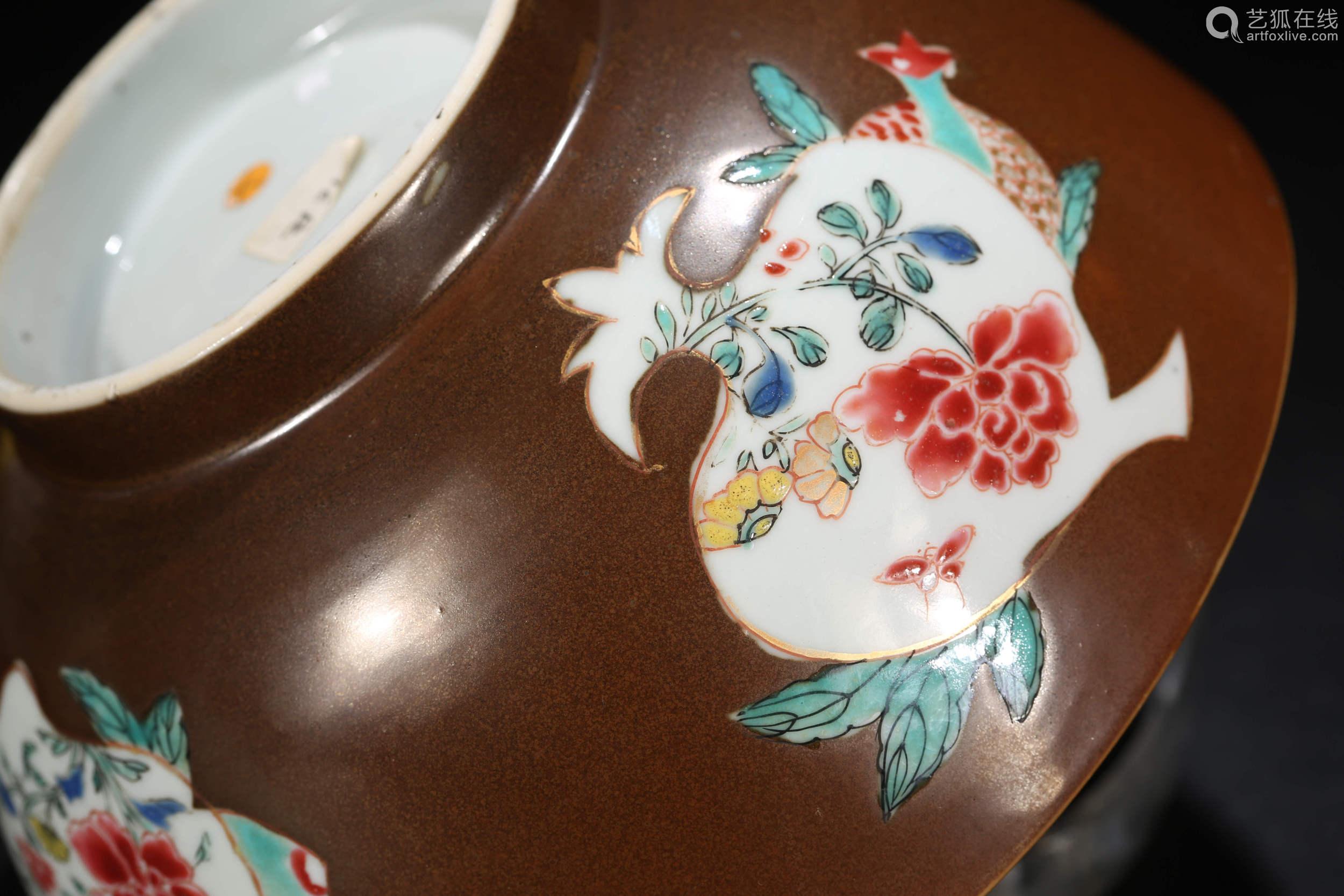 寿桃开光花卉碗