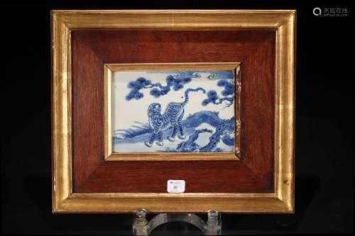 青花 动物瓷板