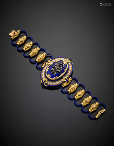 Yellow gold blue guilloché enamel and white half pearl bracelet with silver diamond floral motif and on the back an inscribed locket with a miniature of a General, central height cm 5.50 circa, g 74, length cm 17, h cm 2.80 circa.