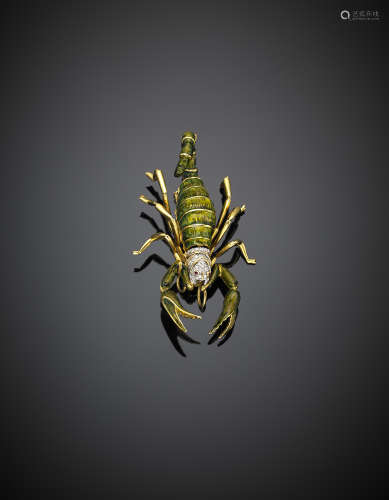 Yellow gold enamel and diamond accented scorpion brooch, g 36.25, length cm 7 circa. Marked AL 39