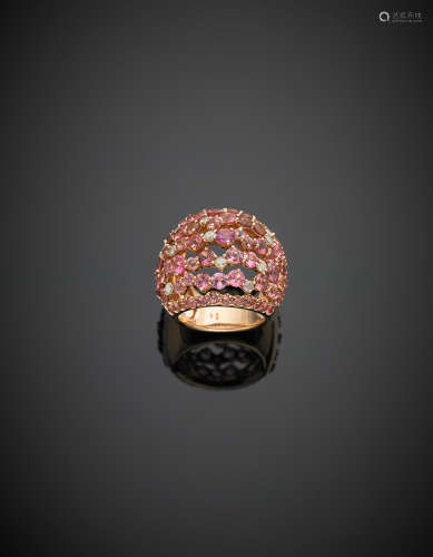 *Pink gold, pink oval and round tourmaline, in all ct. 9.00 circa and round diamond, in all ct. 0.70 circa ring, g 22.10 size 15/55.