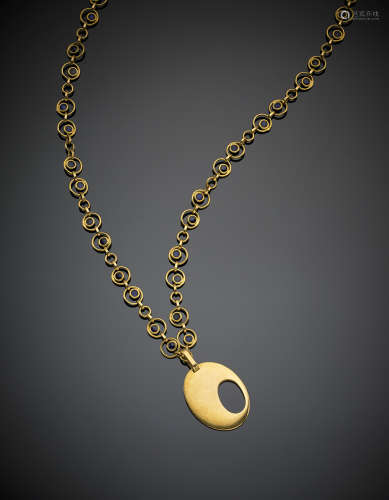 Long yellow gold chain and pendant accented with blue enamel, g 91.3, length cm 94 circa.