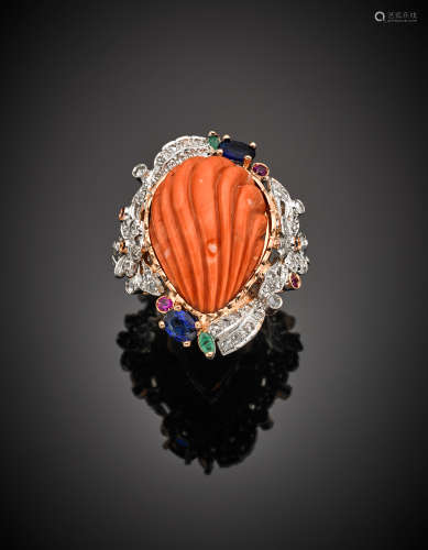 Pink 9K gold and silver carved pink orange coral ring, accented with diamonds, rubies, sapphires and emeralds, g 22.10 size 18/58.