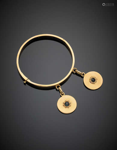 Yellow gold adjustable cuff bracelet with two medal charms centered by blue vitreous paste, g 48.10, diam. cm 5.9.