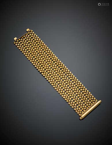 Yellow gold modular link bracelet, g 75.50, length cm 18, h cm 4.30 circa. Marked 78V OFO (defects)