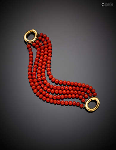 Five strand red coral mm 6.50 bead bracelet with yellow gold clasp, g 60.05, length cm 19 circa.(defects)