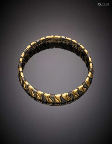 MARINA BULGARIYellow gold burnished metal elastic modular necklace, g 122. In original case