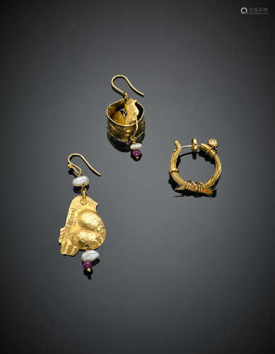 MISANILot comprising three yellow gold earrings of different shapes and sizes with various gems and pearls, in all g 12.67.