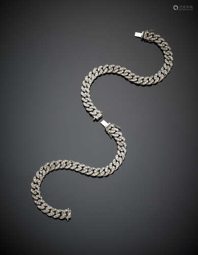 Two attachable white gold diamond groumette mesh bracelets, in all g 84.8, length cm 19 circa.