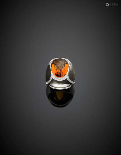 *White gold diamond and inlaid black mother of pearl ring with a central ovoidal composite cut citrine quartz, g 19.10 size 14/54.