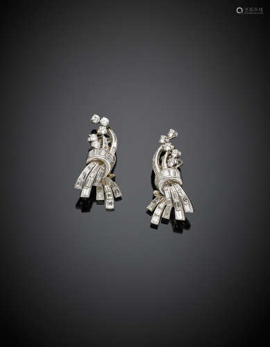 White gold round and baguette diamond earrings, g 16.50.