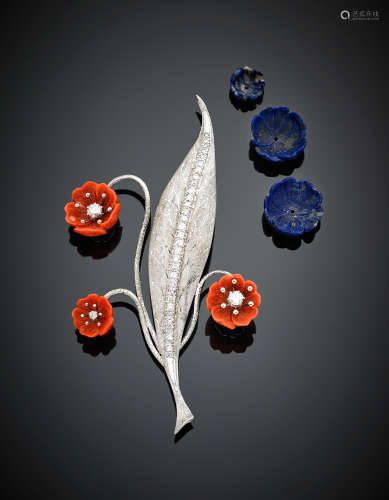 White gold diamond leaf brooch with carved orange coral flowers and carved lapislazuli spare flowers g 29.60, length cm 11 circa.