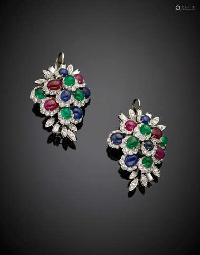 White gold diamond, cabochon ruby, sapphire and emerald flower pendant earrings, g 24.40, length cm circa.