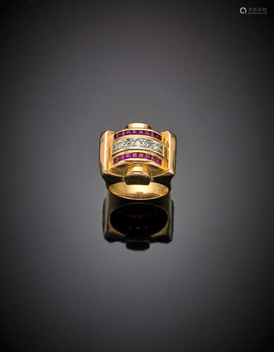 Red gold calibré ruby and round diamond band ring, g 10.87 size 13/53. French hallmark