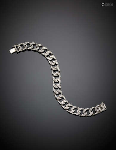 WEINGRILL VERONAWhite gold diamond-set link chain bracelet, g 54.80, length cm 19 circa. Marked W and