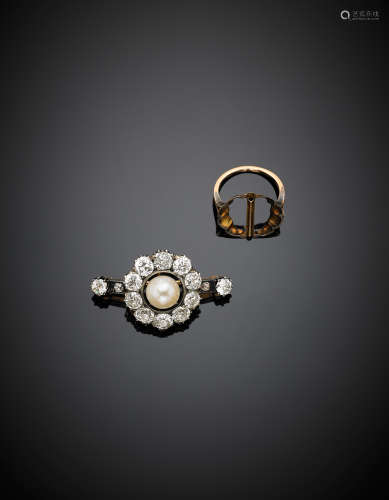 Yellow gold and silver diamond, in all ct. 7.00 circa, and pearl brooch, adaptable as ring, g 15.60, length cm 4 circa.