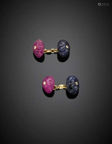 Yellow gold cabochon ruby and sapphire, diamond accented cufflinks, g 13.60.