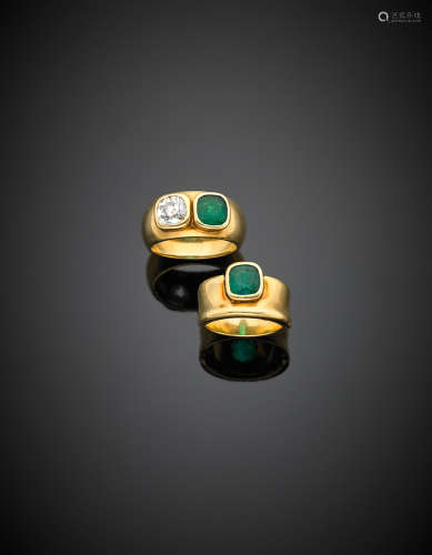 Lot composed of two yellow gold band rings, one with cushion old european cut ct. 0.85 circa diamond and an emerald, the other with a cushion ct. 0.83 circa emerald, twin with the former resulting from the splitting of one ring, g 16.50 size 11/51 e 7/47.