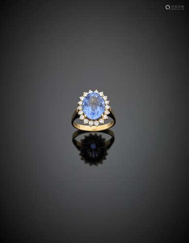 Yellow gold diamond ct. 8.50 circa sapphire cluster ring, g 7.50 size 17/57.