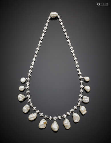 White gold diamond and irregular button pearl necklace, g 69.40, length cm 46.5 circa.