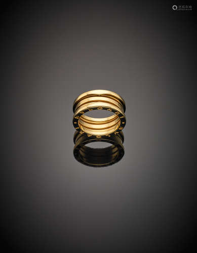 *BULGARIYellow gold medium spring wedding band, with logo g 10.58 size 16/56.