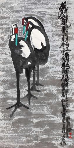 贾平西 双鹤图 镜片 设色纸本
