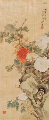 容祖椿 牡丹图 立轴 设色纸本