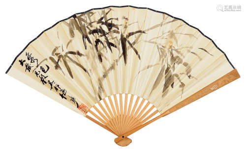 颜梅华(b.1927) 墨竹 成扇 水墨纸本