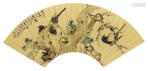徐桢(1841~1915) 乙酉(1885年)作 花鸟 扇页 设色金笺