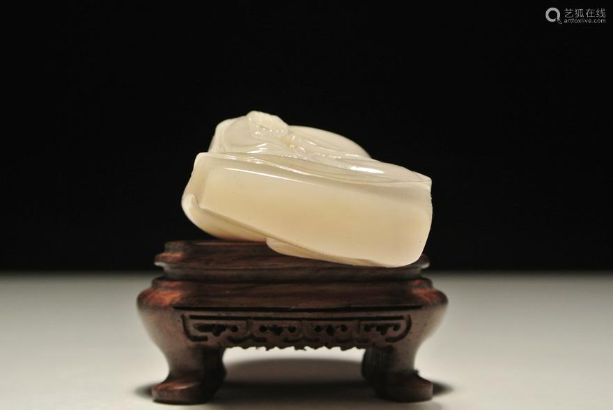 老挝石巧雕【自在观音】人物摆件
