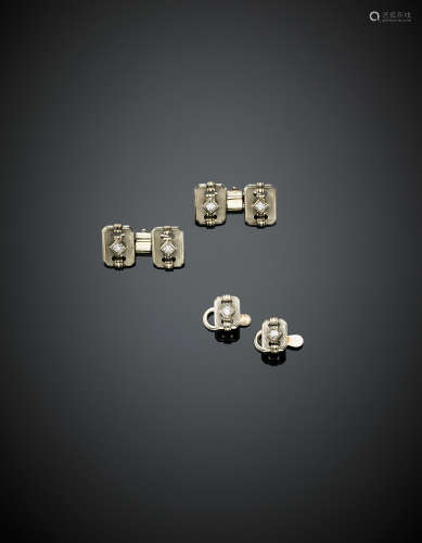 Lot of smooth and glazed white gold and diamond accented jewellery comprising cufflinks and buttons, g 10.