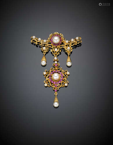 Yellow gold and pearl pendant brooch, g 13.41, length cm 7 circa.