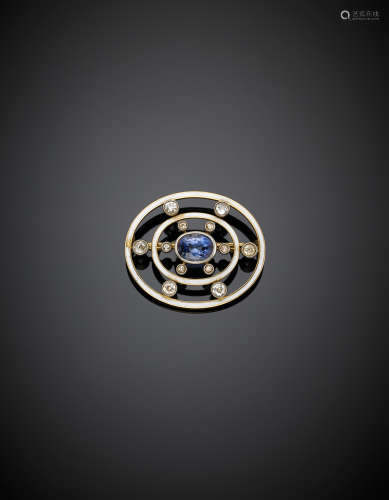 Yellow gold, diamond, white enamel and central oval ct. 2.60 circa sapphire brooch, g 9.44, width cm 3.50 circa.(slight defects)