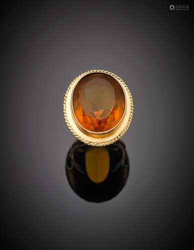Yellow gold oval composite cut citrine quartz ring, g 12.86 size 9/49.