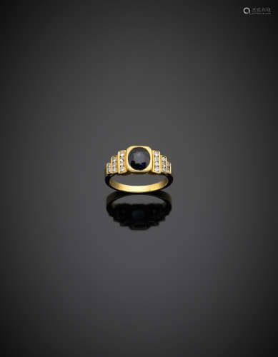Yellow gold ct. 1.40 circa oval sapphire ring accented with diamonds, g 5.10 size 14/54.