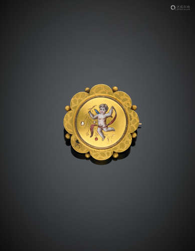 Yellow gold seed pearl and enamel angel round pin, g 5.20, diam. cm 2.60.