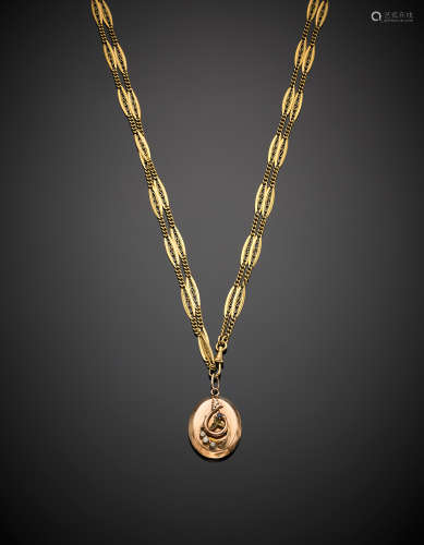 Yellow gold long necklace with older seed pearl and sapphire pendant, g 52.95, length cm 76.50 circa.
