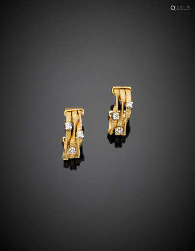 MARCO BICEGOWhite and yellow chiselled gold diamond earrings, missing clasps,  g 9.77.