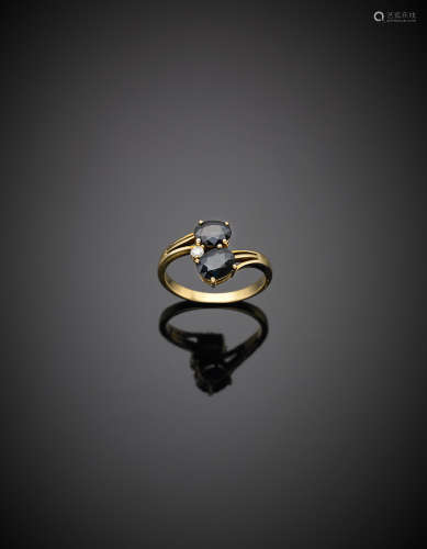 Yellow gold two oval sapphires and round diamond crossover ring, g 3.42 size 14/54.