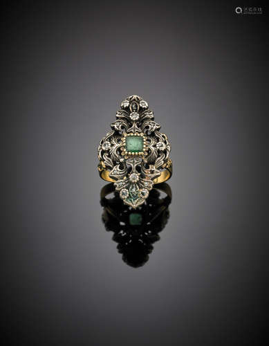 Yellow gold and silver diamond and emerald ring, g 12.49 size 11/51.