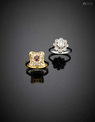 Two bi coloured gold flower rings, with diamonds the first and ruby and diamonds the second g 10.25 size 13.5/53.512/52.