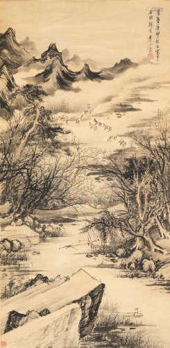 李士达 溪山渔隐图 设色纸本 立轴 一六二〇年作