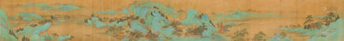 仇英(款) 秋山行旅图 设色绢本 手卷