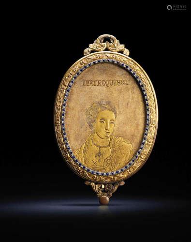 清乾隆 约1760-1770年 广东作铜鎏金嵌宝石西洋人物镜