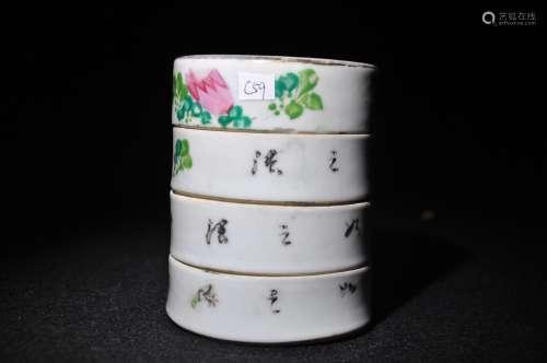瓷花鸟四层胭脂盒
